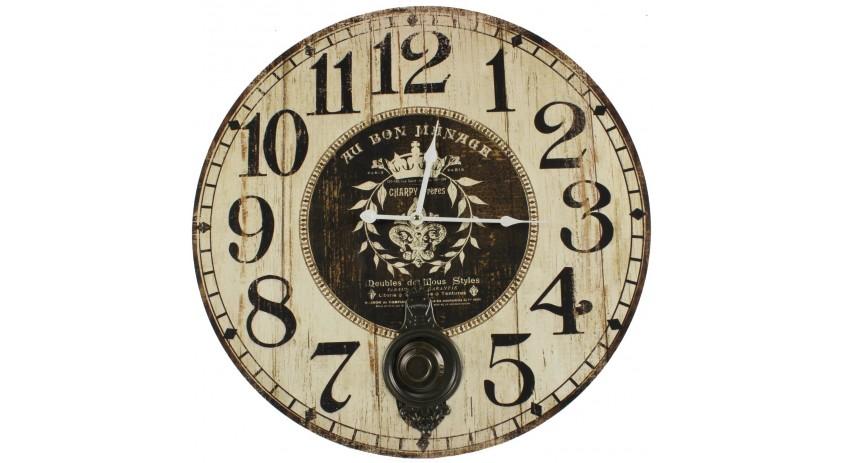 Horloge Ancienne Balancier Au Bon Ménage 58cm
