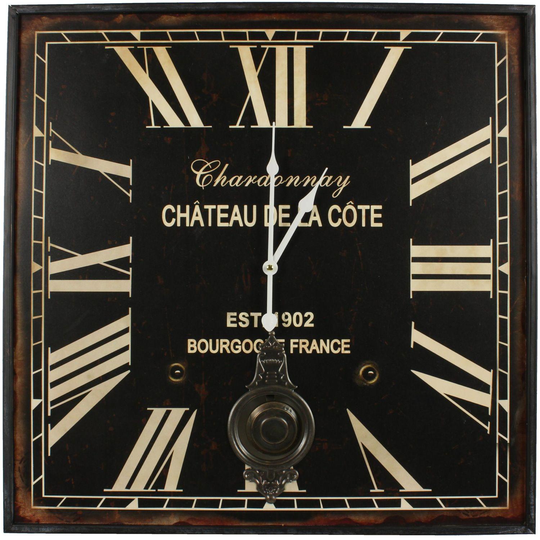 Horloge Ancienne Balancier Carre Chardonnay 60cm