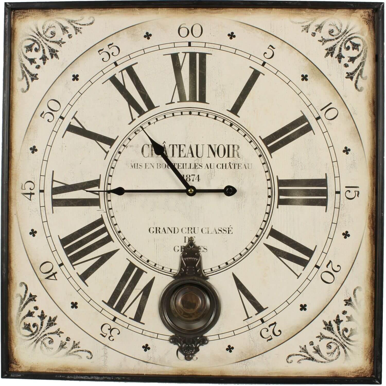 Horloge Ancienne Balancier Carre Château Noir 60cm