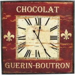 HORLOGE MURALE CARRE CHOCOLAT GUERIN-BOUTRON 60CM