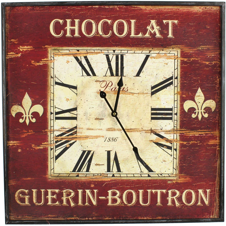 HORLOGE ANCIENNE MURALE CARRE CHOCOLAT GUERIN-BOUTRON 60CM