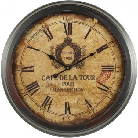 HORLOGE ANCIENNE MURALE CAFE DE LA TOUR 58CM