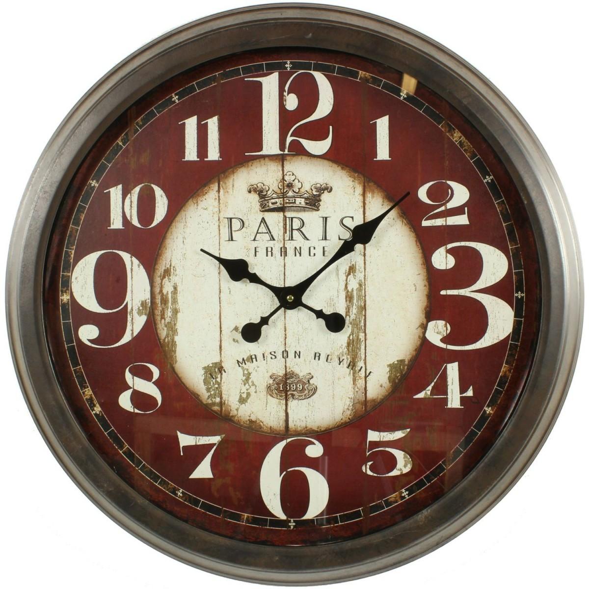 Grande Horloge Ancienne Murale Paris France 70cm