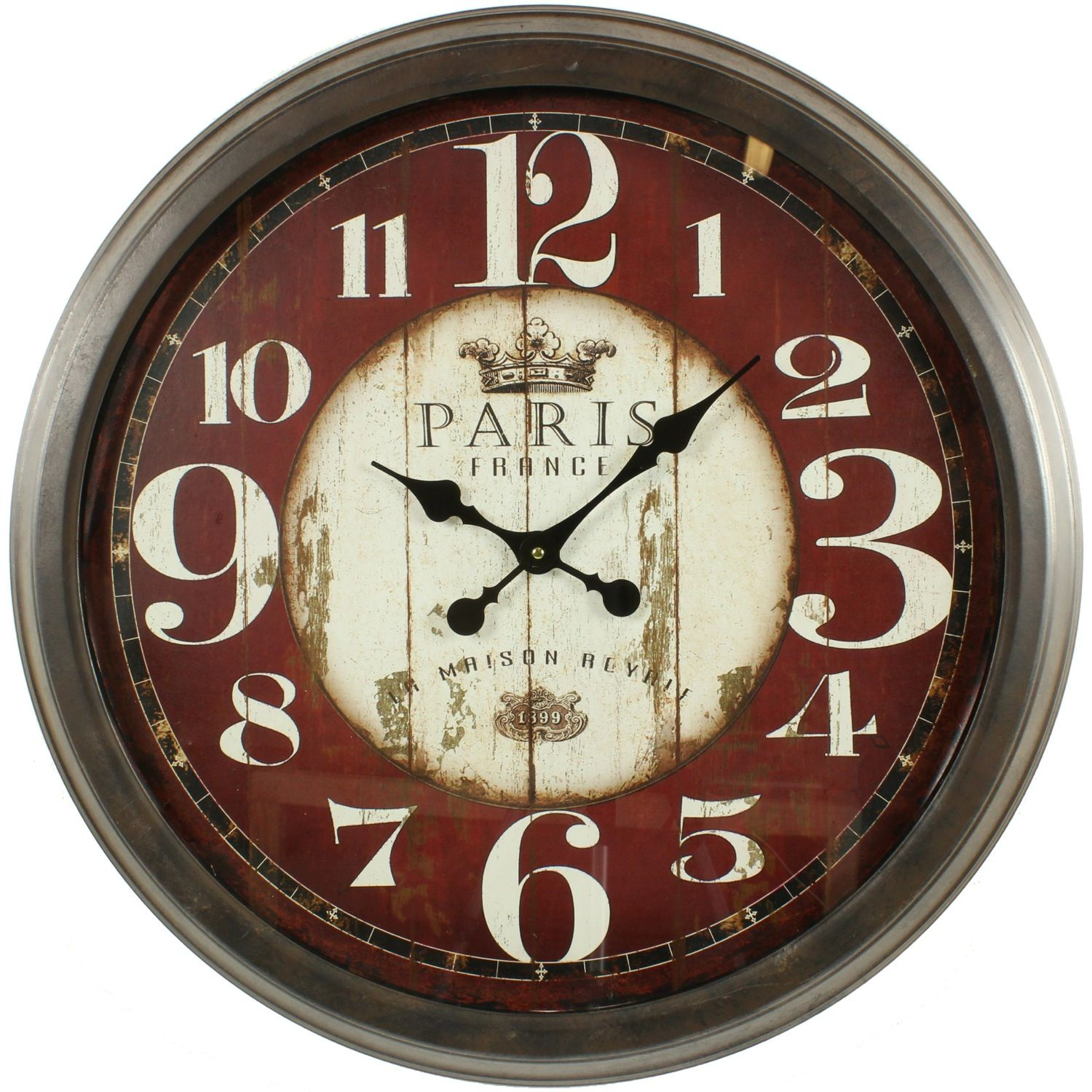 Grande horloge ancienne murale paris france 70cm for Horloge murale cuisine rouge