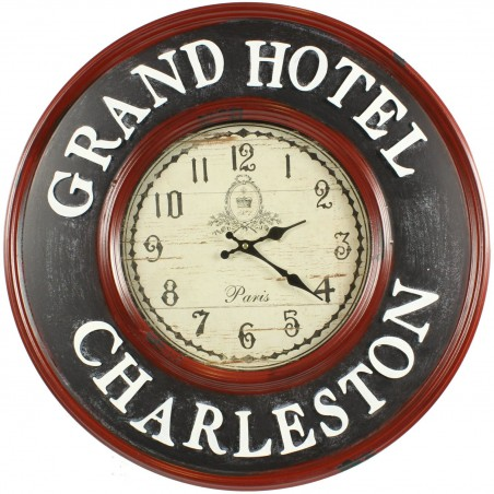 HORLOGE ANCIENNE MURALE GRAND HOTEL CHARLESTON 59CM