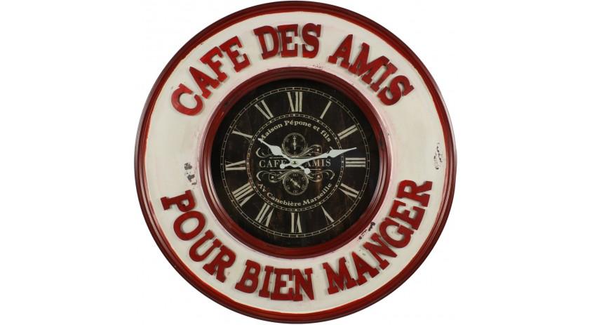 HORLOGE MURALE CAFE DES AMIS POUR BIEN MANGER 59CM