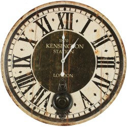 Horloge Ancienne Balancier 1870 Kesington Station London 58cm