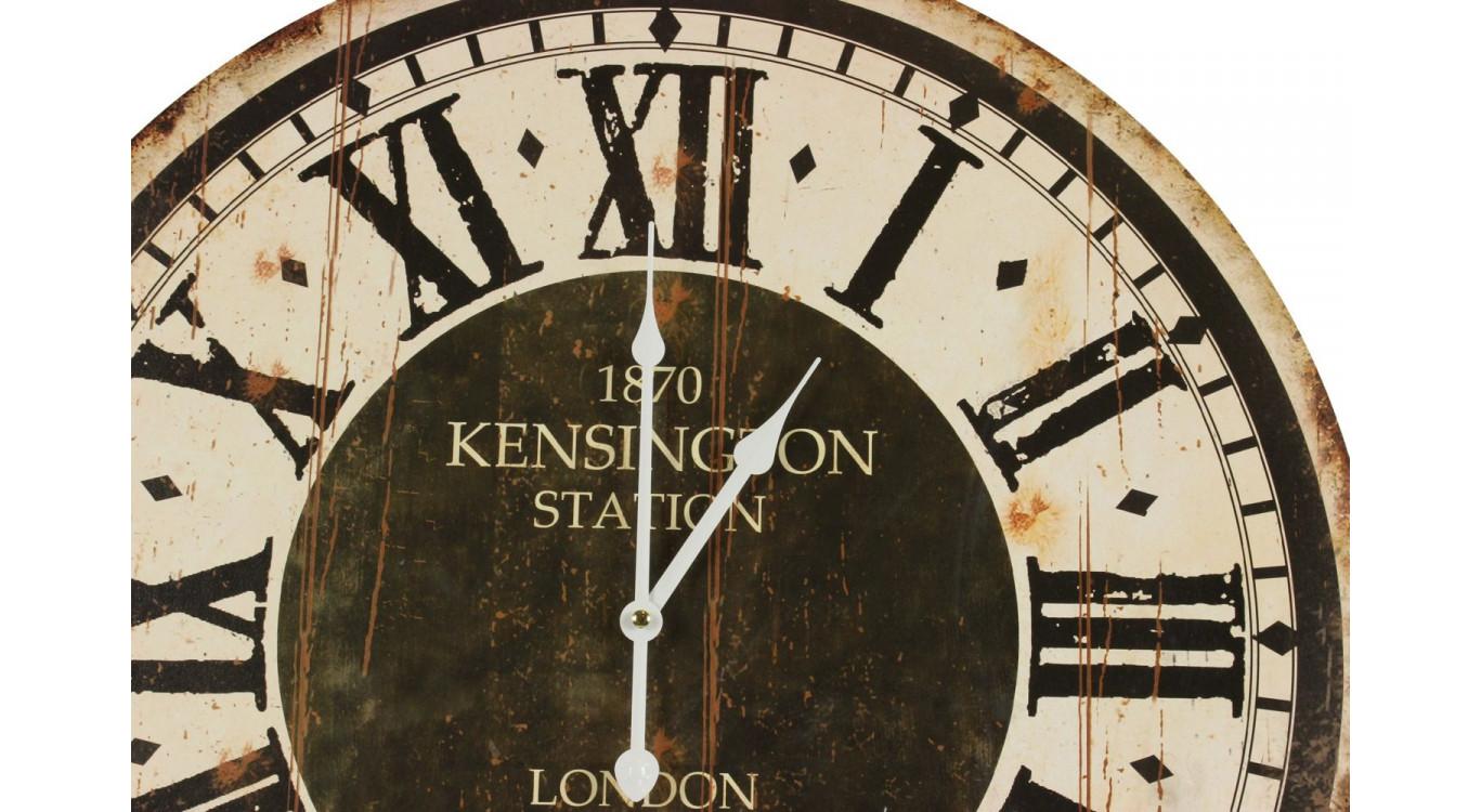 Horloge Ancienne Balancier 1870 Kesington Station London 58cm