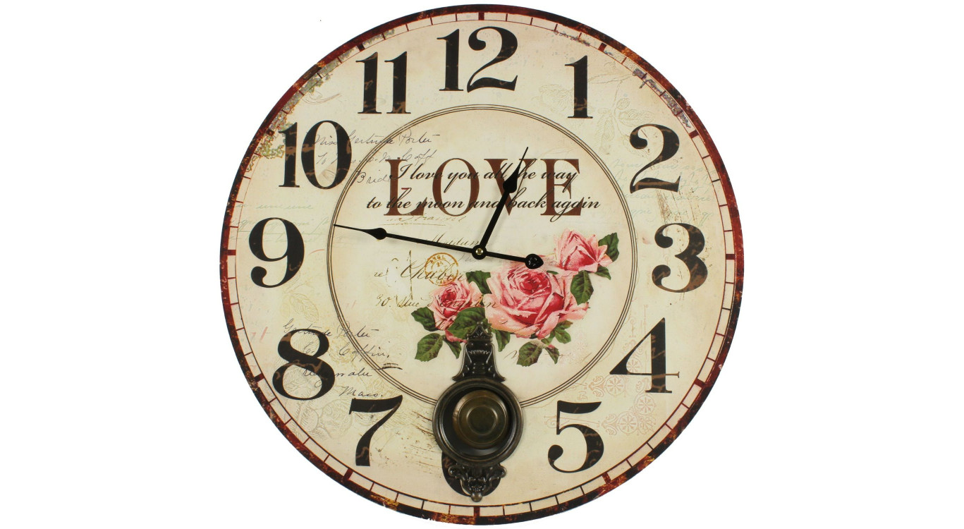 Horloge Ancienne Balancier Love 58cm