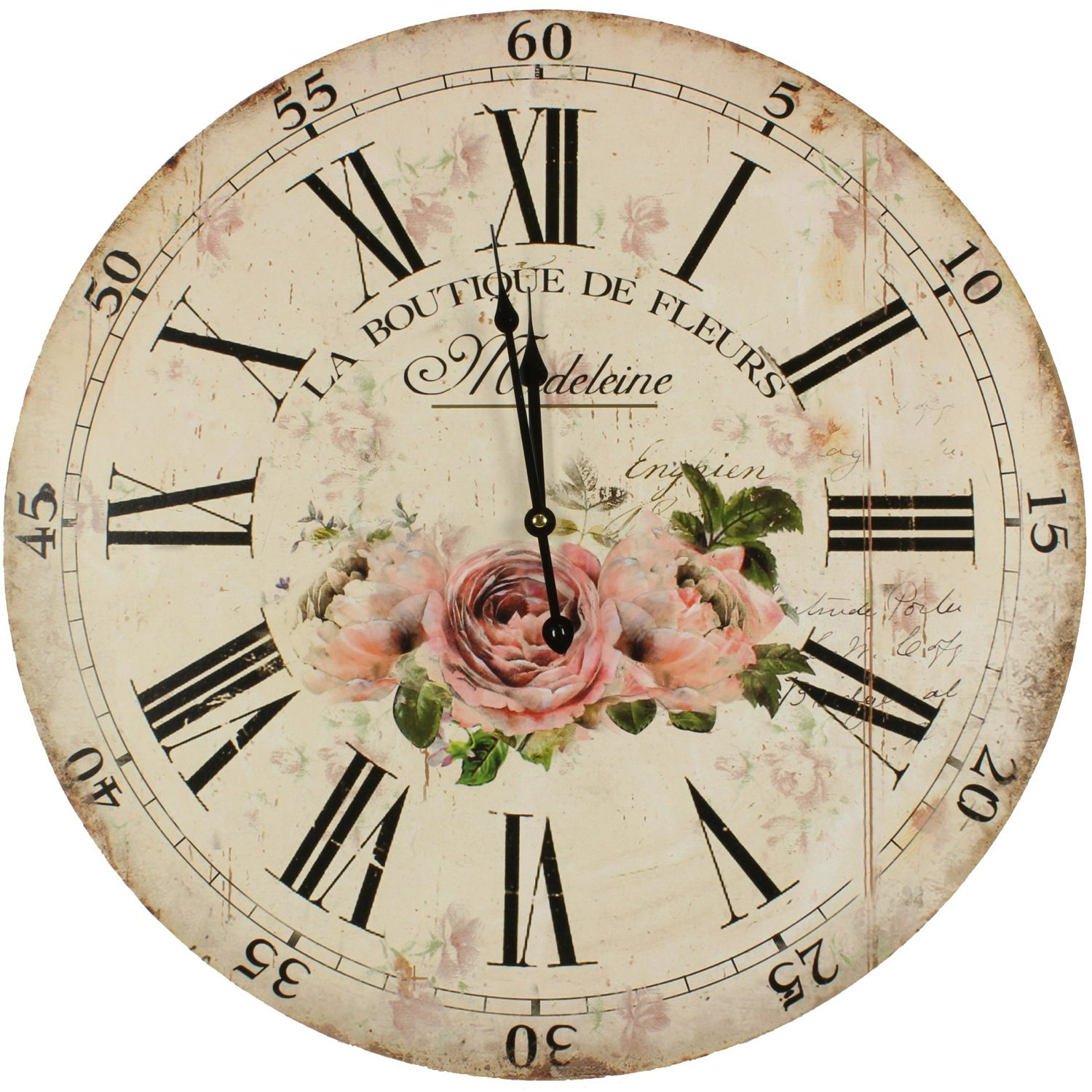 horloge ancienne murale la boutique de fleurs 58cm. Black Bedroom Furniture Sets. Home Design Ideas