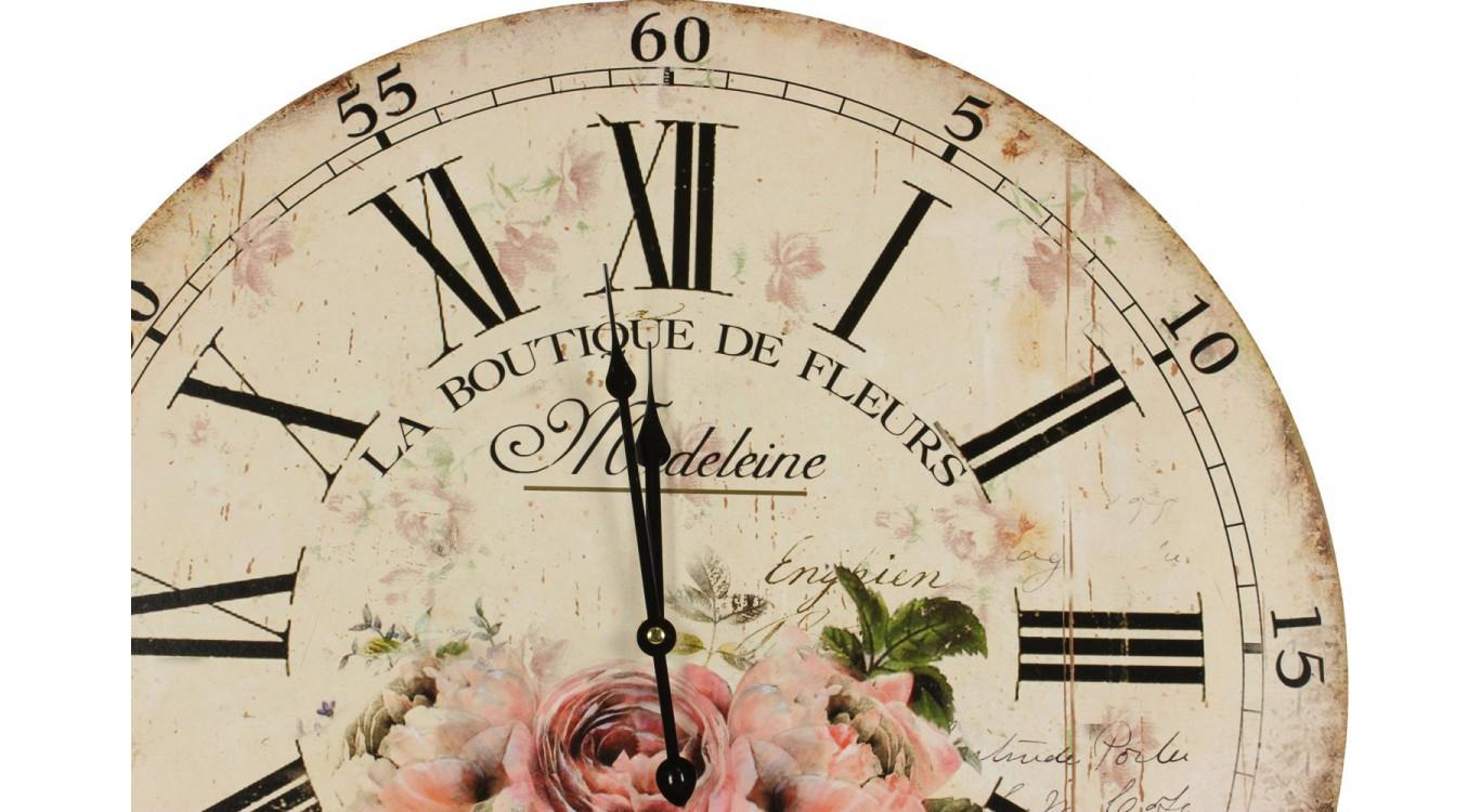 Horloge Ancienne Murale La Boutique De Fleurs 58cm