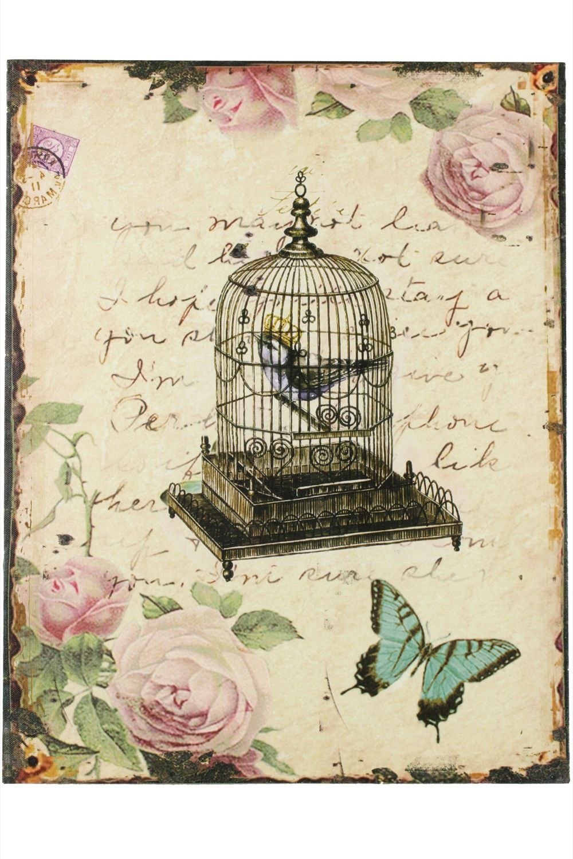 Tableau Vertical Cage A Oiseaux Avec Roses 35x45cm