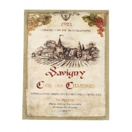 Tableau Sur Lin Vertical Grand Vin De Bourgogne 35x45cm