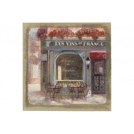Tableau Sur Lin Carre Boutique Vins 38x38cm