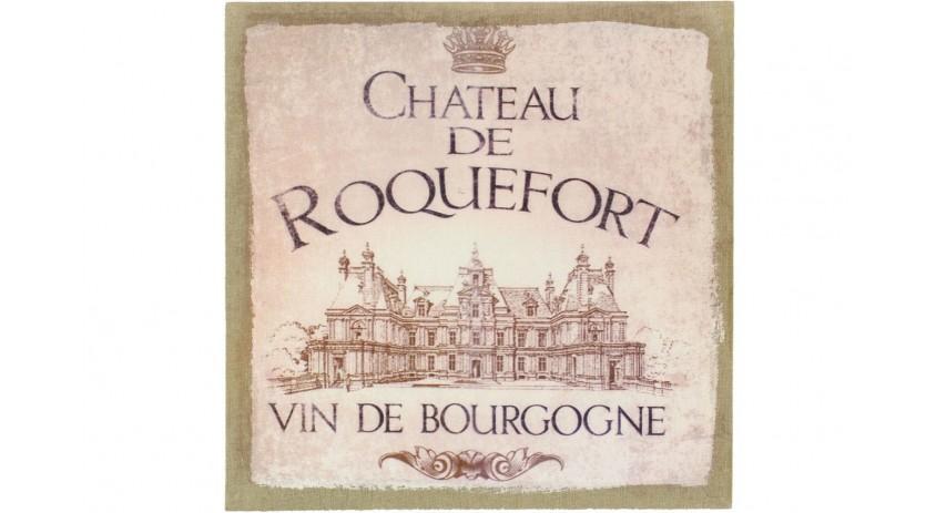 TABLEAU SUR LIN CARRE CHÂTEAU DE ROQUEFORT 38X38CM