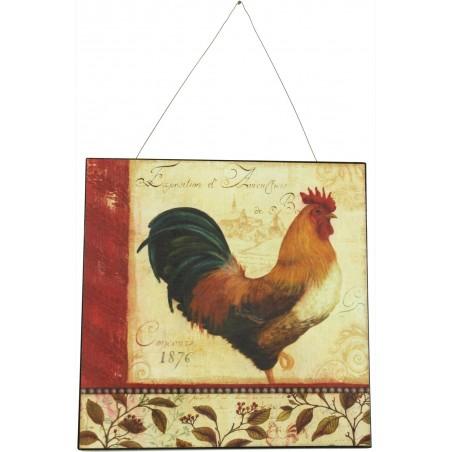 Plaque Décorative Publicité Fer Expostion Coq 30x30cm