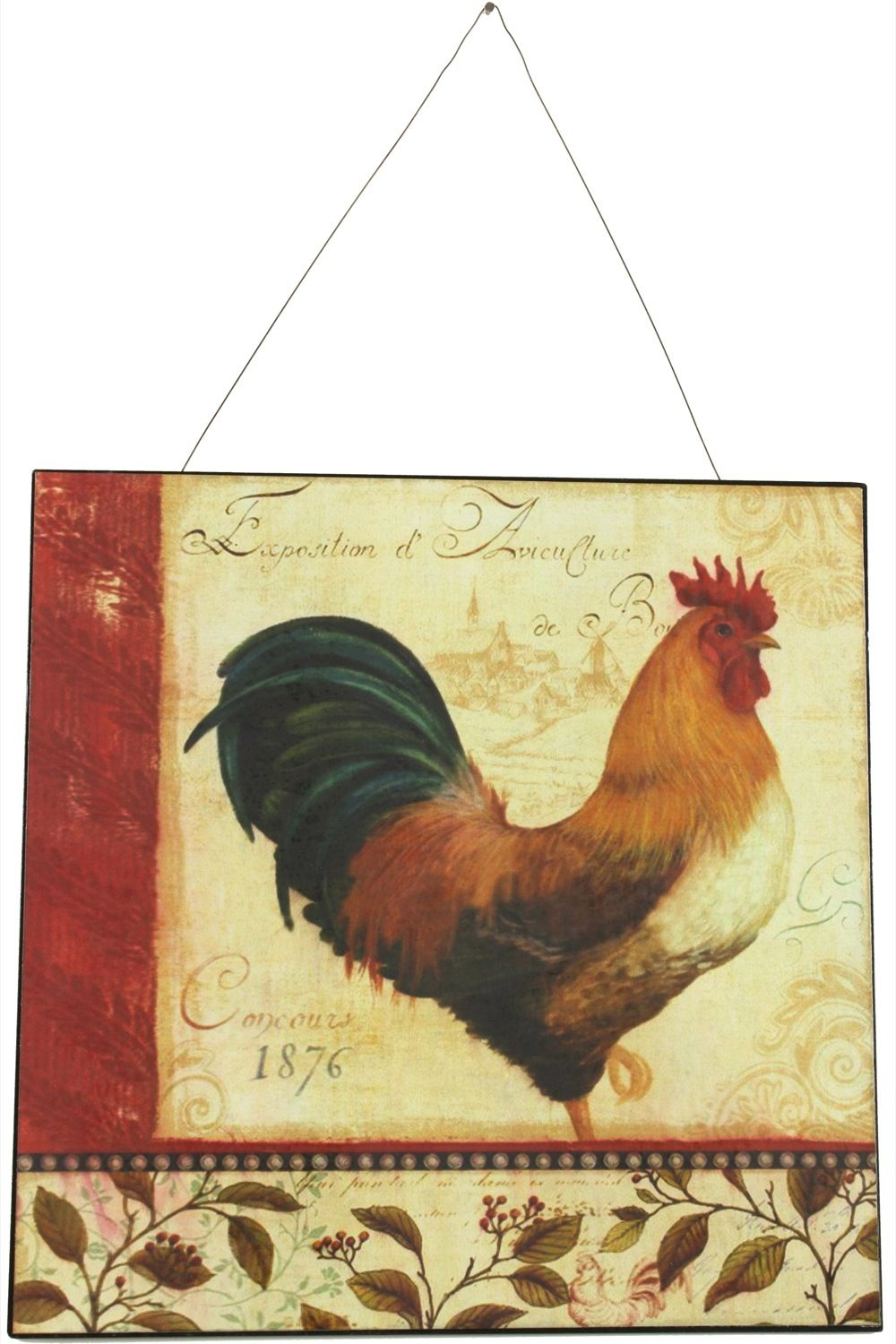 PLAQUE DECORATIVE PUBLICITE FER EXPOSTION COQ 30X30cm