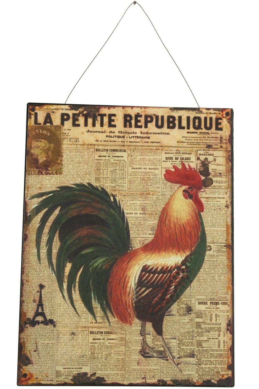 Plaque Décorative Publicité Fer La Petite République Coq Droite 25x33cm