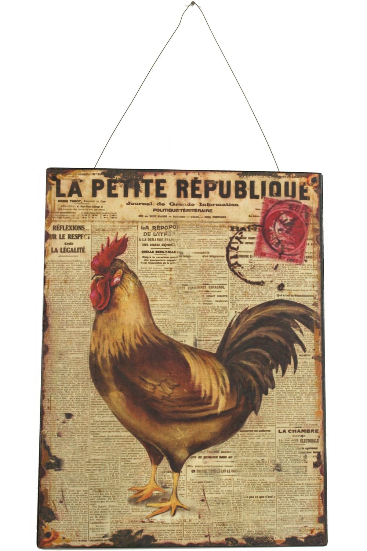 PLAQUE DECORATIVE PUBLICITE FER LA PETITE REPUBLIQUE COQ GAUCHE 25X33cm