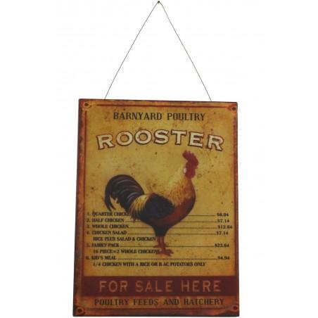 Plaque Décorative Publicité Rooster Coq Droite 25x33cm