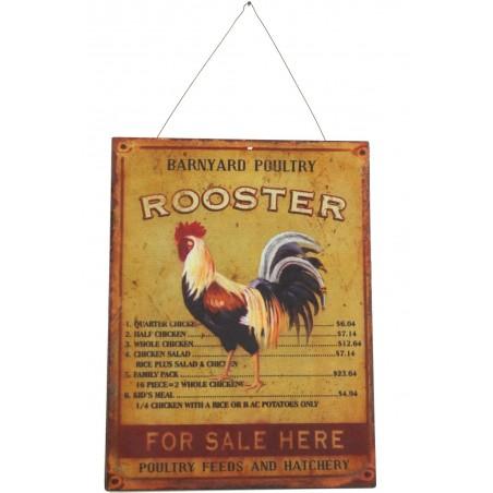 PLAQUE DECORATIVE PUBLICITE FER ROOSTER COQ GAUCHE 25X33cm
