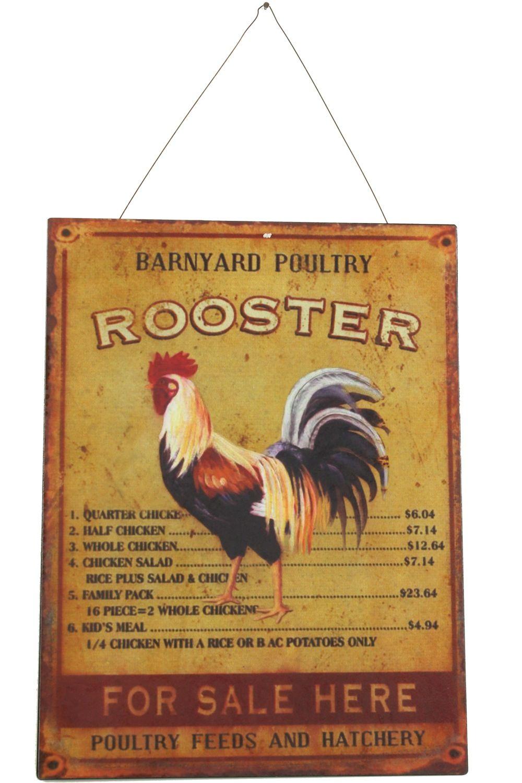 Plaque Décorative Publicité Fer Rooster Coq Gauche 25x33cm