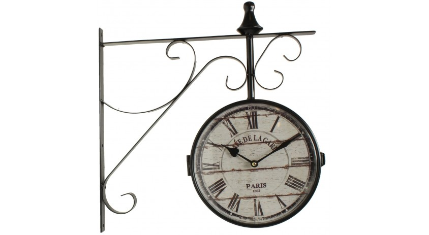 HORLOGE DE GARE ANCIENNE DOUBLE FACE CAFE DE LA GARE 24CM