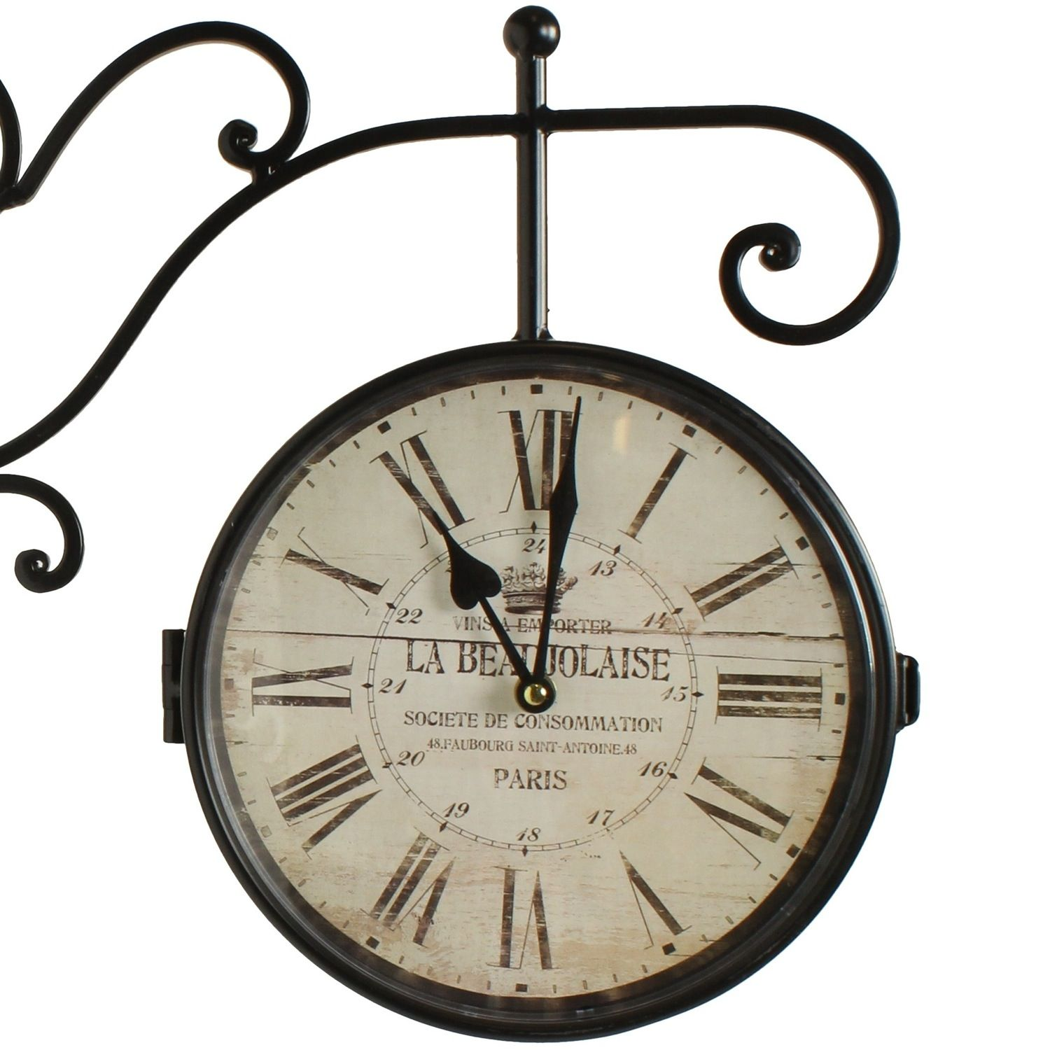 horloge de gare ancienne double face la beaujolaise 24cm. Black Bedroom Furniture Sets. Home Design Ideas