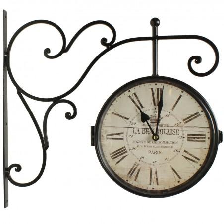 Horloge De Gare Ancienne Double Face La Beaujolaise 24cm