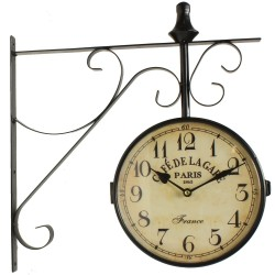 HORLOGE DE GARE ANCIENNE DOUBLE FACE CAFE DE LA GARE PARIS 24CM