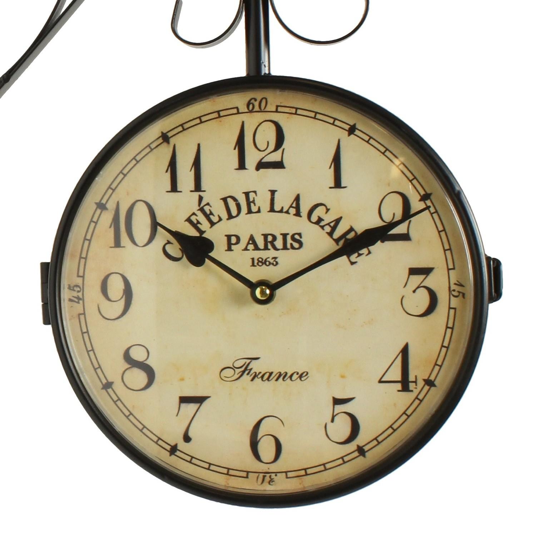 Horloge de gare ancienne double face cafe de la gare paris 24cm for Prix horloge