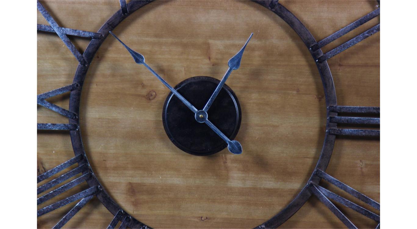 Grande Horloge Ancienne Fer Forgé Bois 80cm