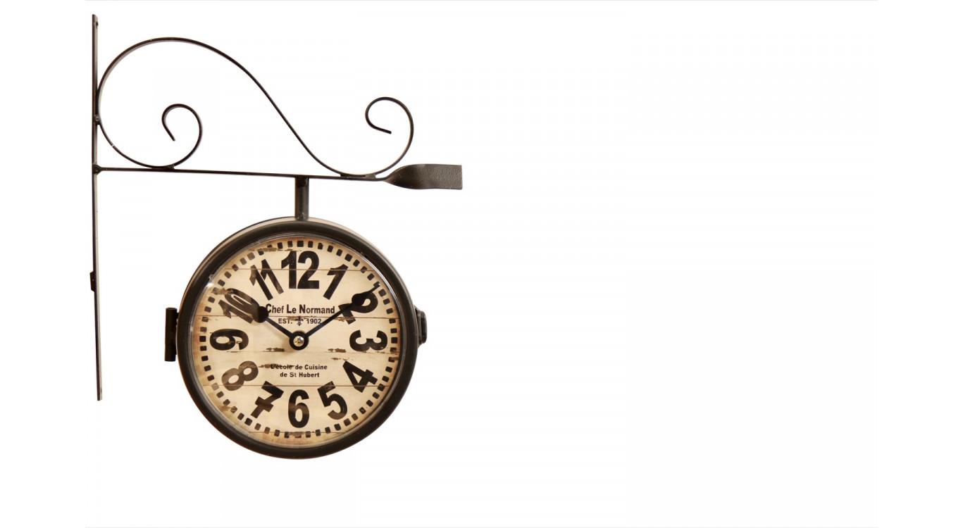 Horloge De Gare Ancienne Double Face Chef Le Normand 16cm