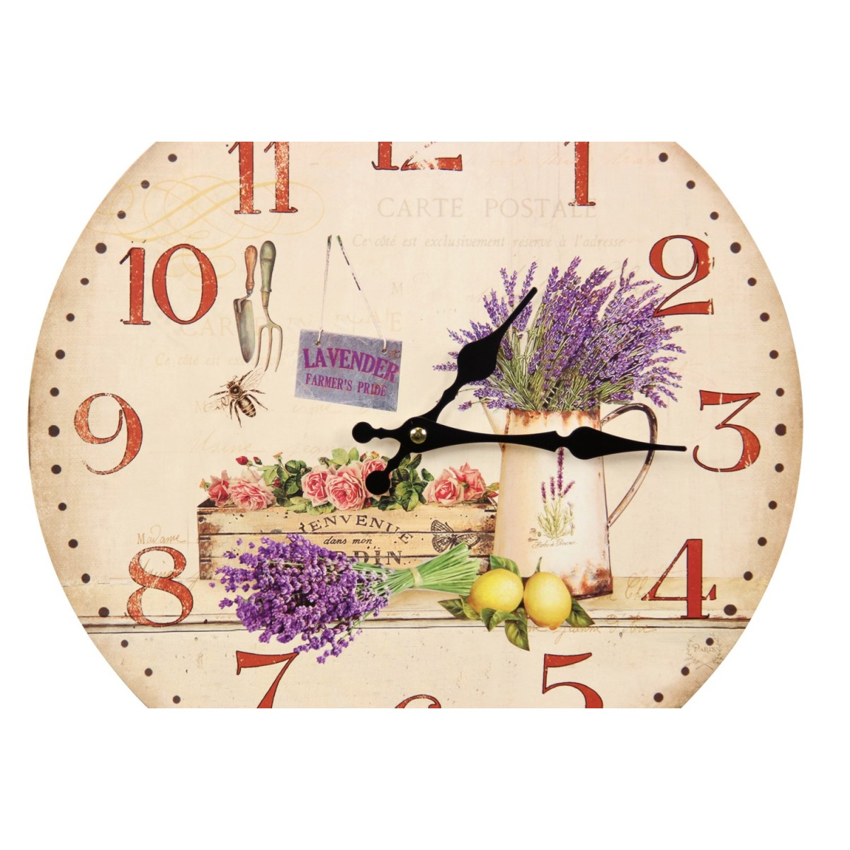 Horloge Ancienne Murale Lavande Rose 34cm