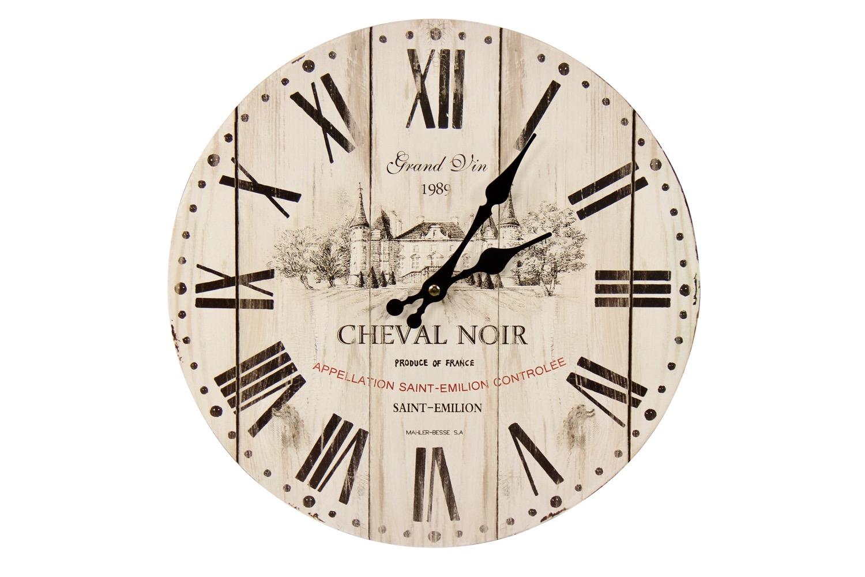 Horloge Ancienne Murale Grand Vin Cheval Noir Blanc 34cm