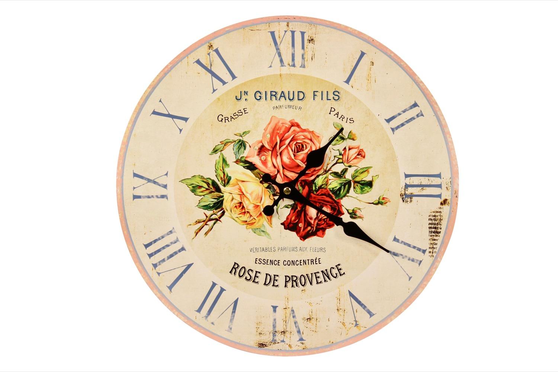 Horloge Ancienne Murale Rose de Provence 34cm