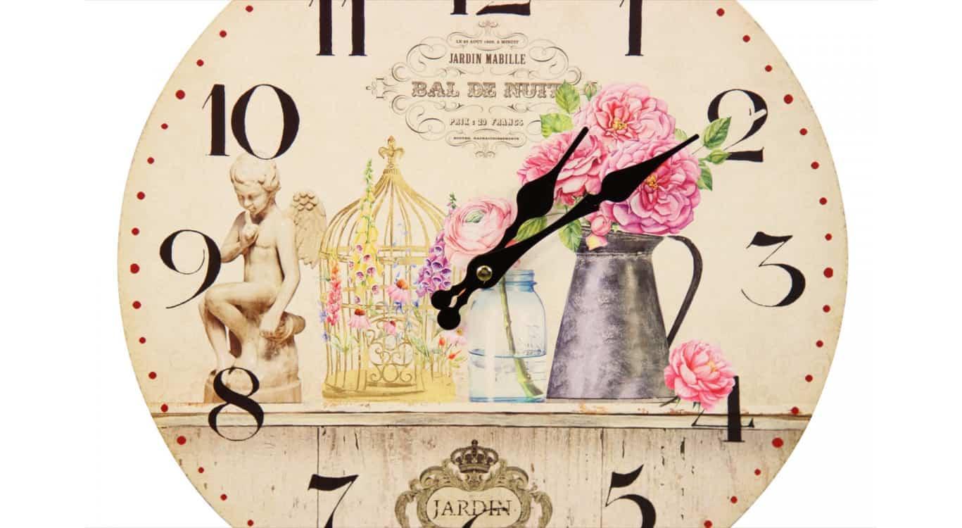 Horloge Ancienne Murale Vase Rose 34cm
