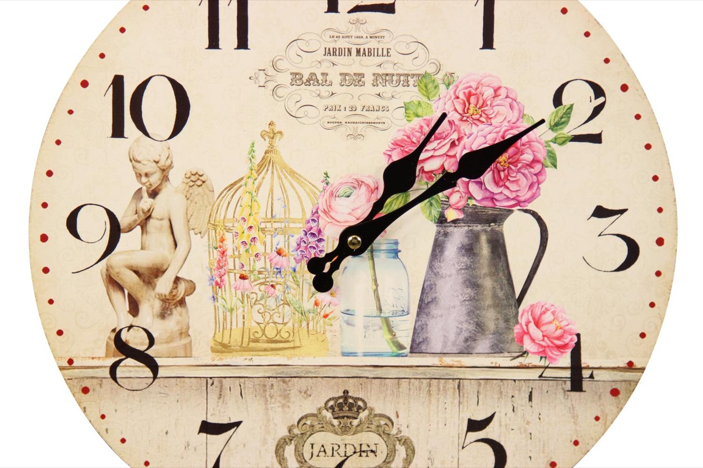 horloge ancienne murale vase rose 34cm. Black Bedroom Furniture Sets. Home Design Ideas