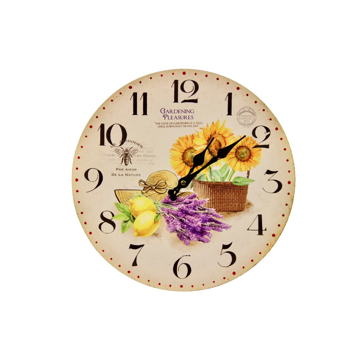 Horloge Ancienne Murale Tournesol Citron 34cm