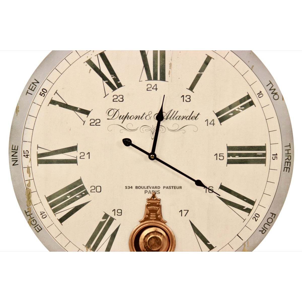 Horloge Ancienne Balancier Dupont & Allardet Blanc 58cm