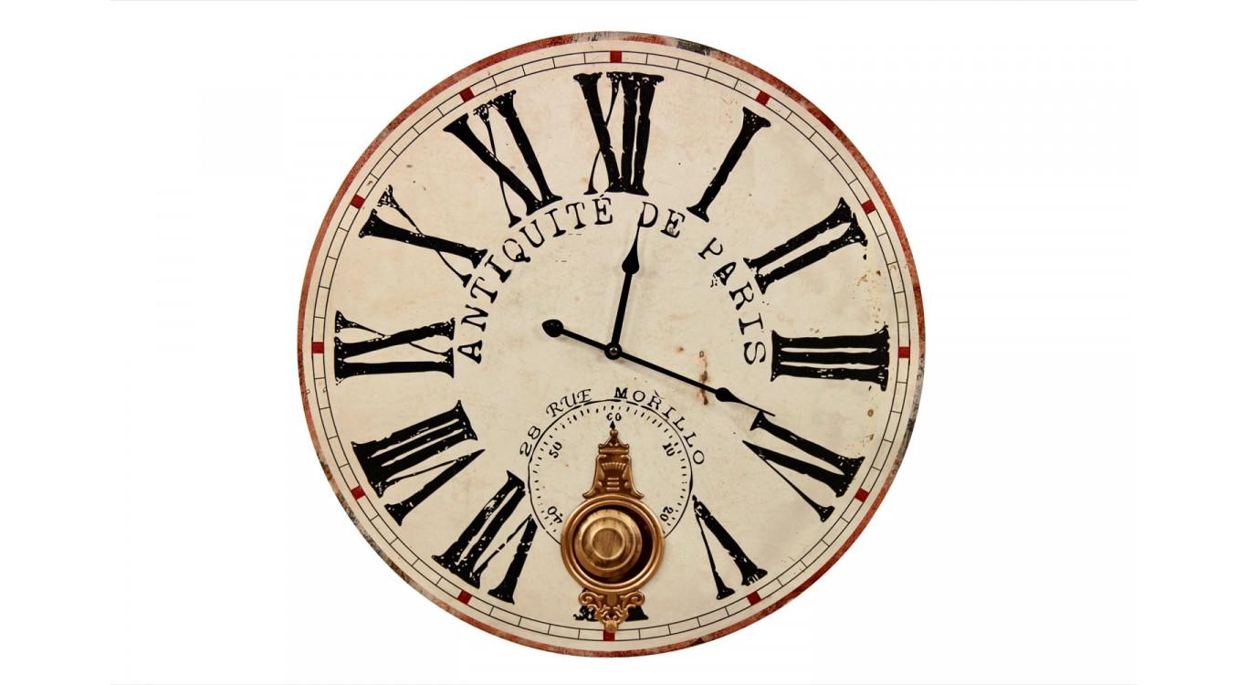 Horloge Ancienne Balancier Antiquité de Paris 58cm