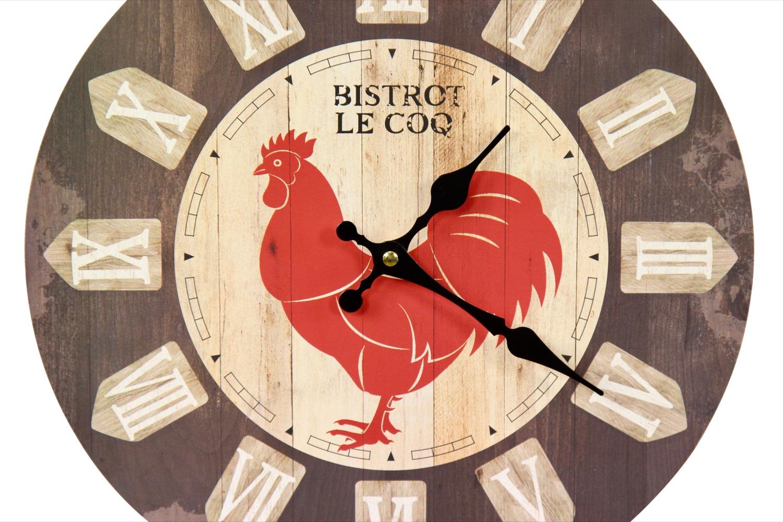 horloge ancienne murale bistrot le coq 34cm. Black Bedroom Furniture Sets. Home Design Ideas