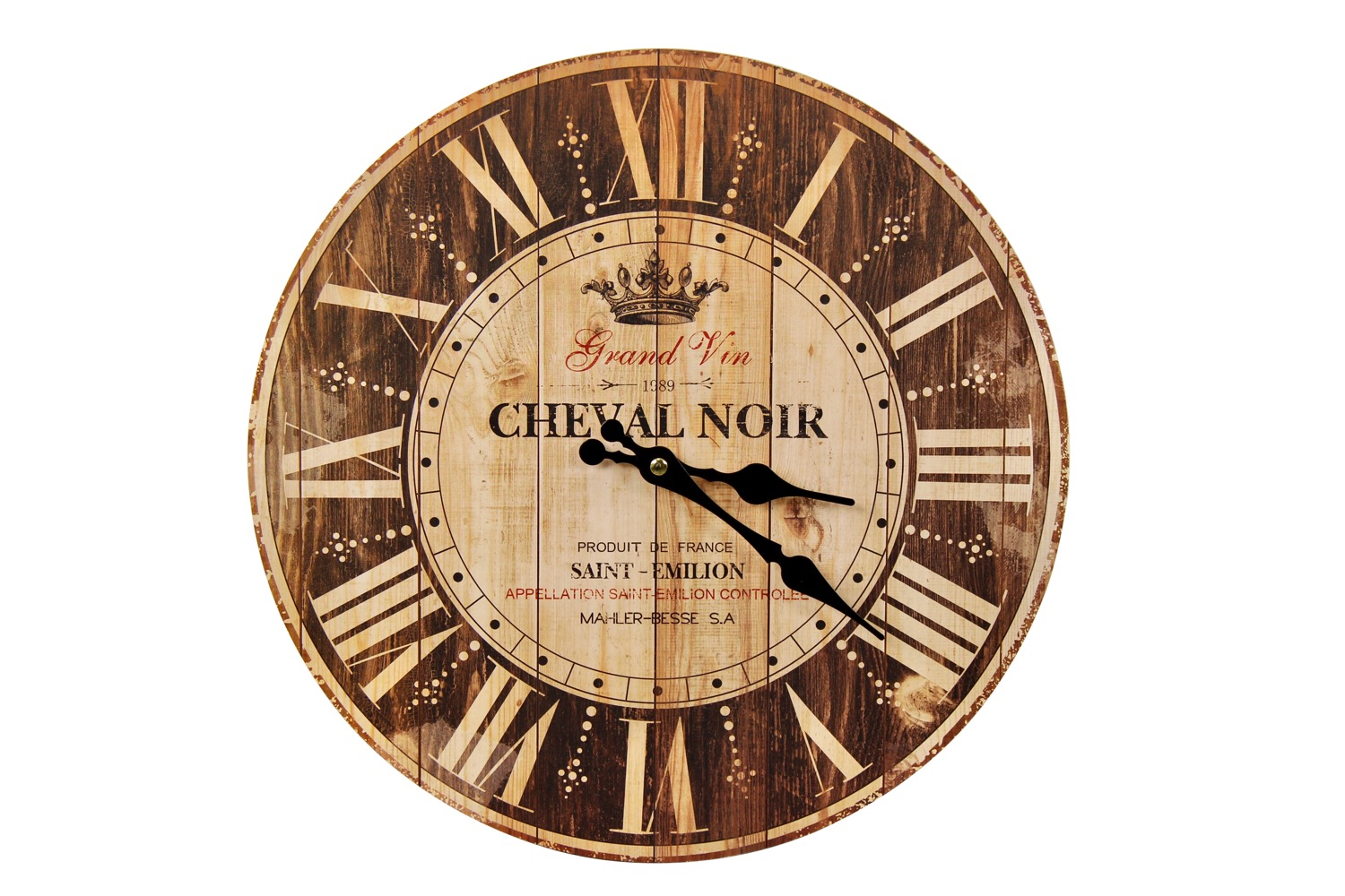 Horloge Ancienne Murale Grand Vin Cheval Noir Marron 34cm