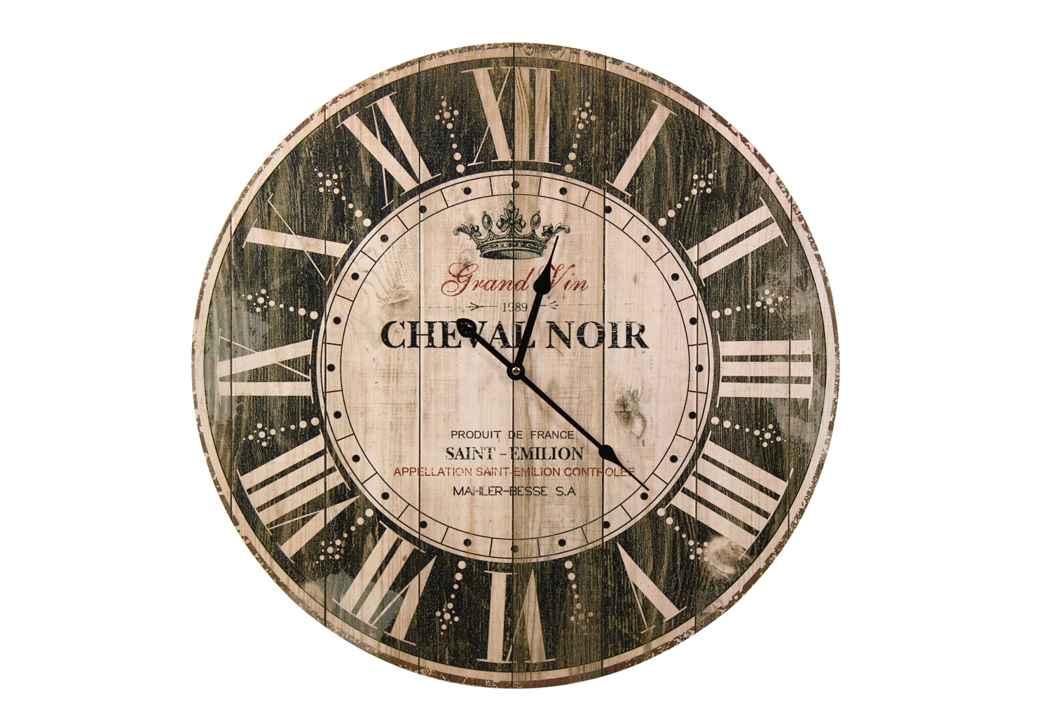 Horloge Ancienne Murale Grand Vin Cheval Noir Marron 58cm