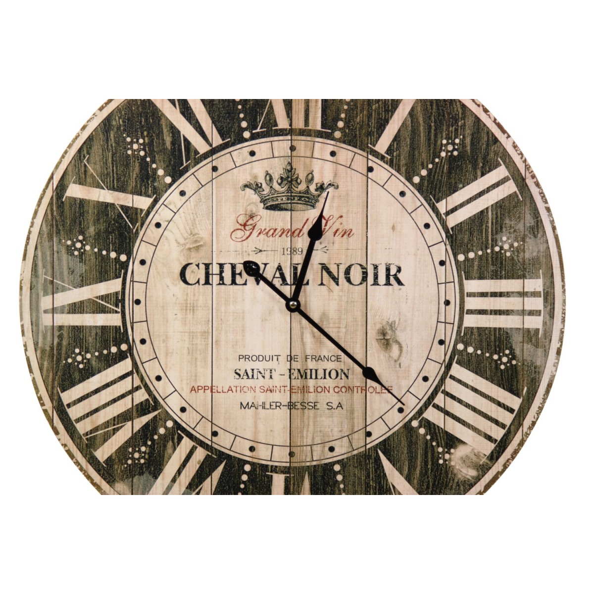 Horloge Ancienne Murale Grand Vin Cheval Noir Marron 58cm