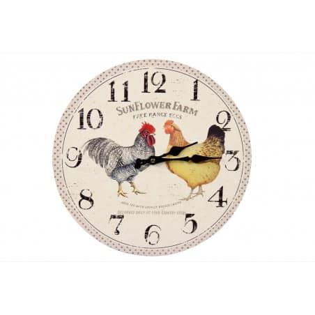 Horloge Ancienne Murale Coq et Poule 34cm