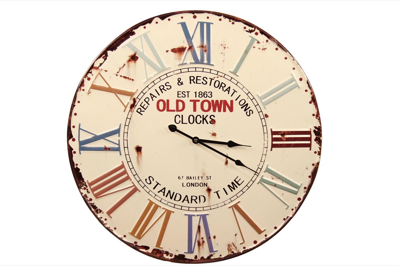 Horloge Ancienne Metal Old Town Clocks 58cm