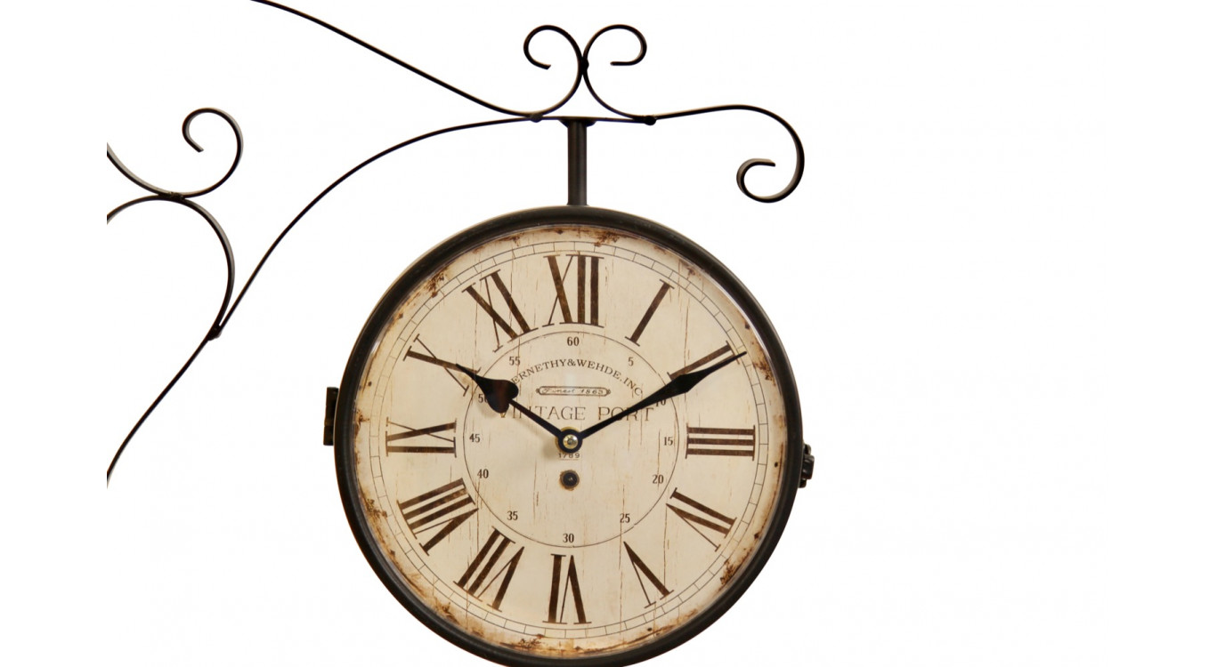 Horloge De Gare Ancienne Double Face Vintage Port 24cm