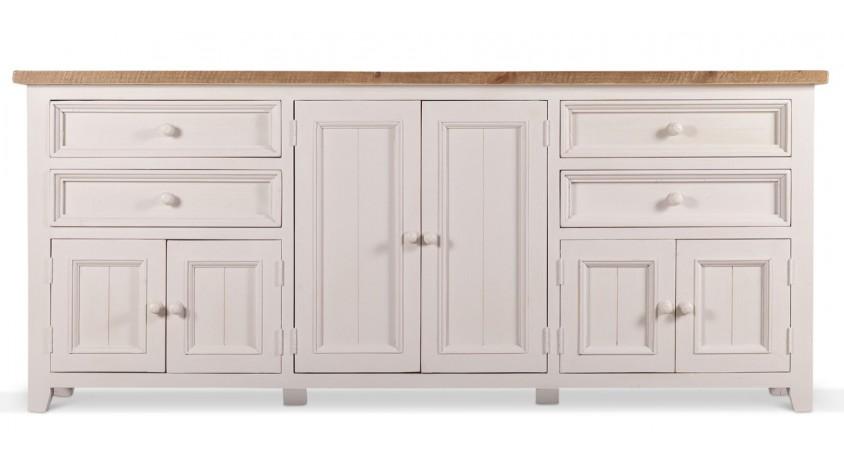 meuble bas rangement bois blanc 4 tiroirs 210x45x89cm. Black Bedroom Furniture Sets. Home Design Ideas