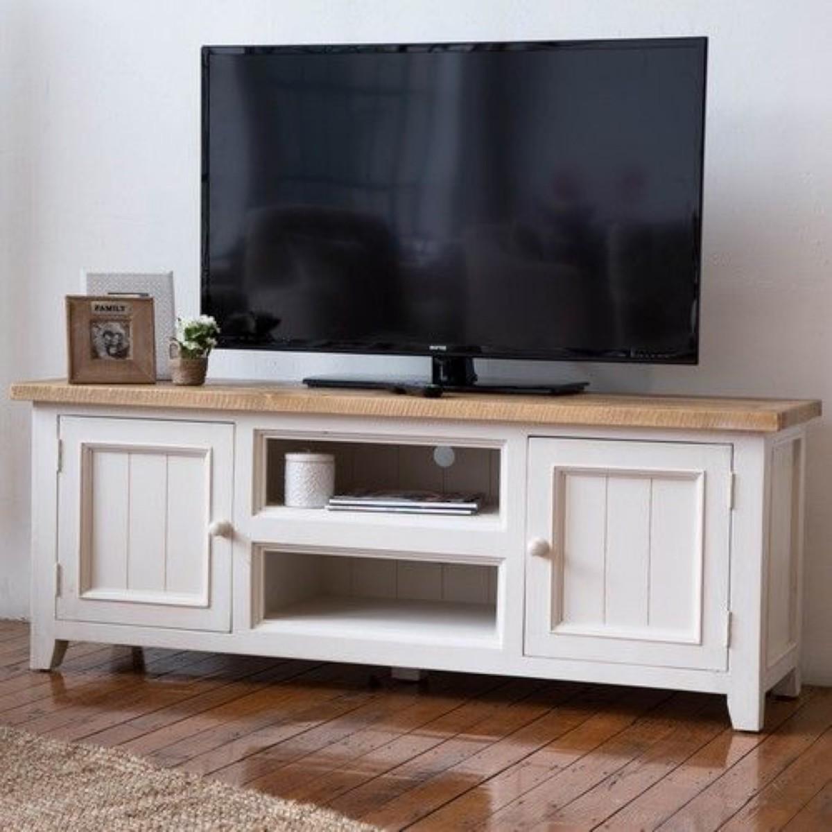 Meuble TV Bas Rangement Bois Blanc Césuré 160x45x60cm